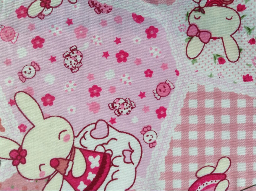 Free shipping fashion 100 cotton rabbit printed colorful for Cotton fabric for children s clothes