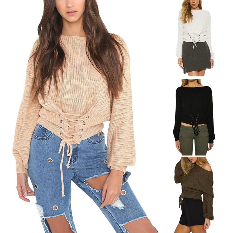 Autumn Women Knitted Christmas Sweater Lace Up Sweater Pullovers Solid Jumper Adjust Waist Bandage Sweater