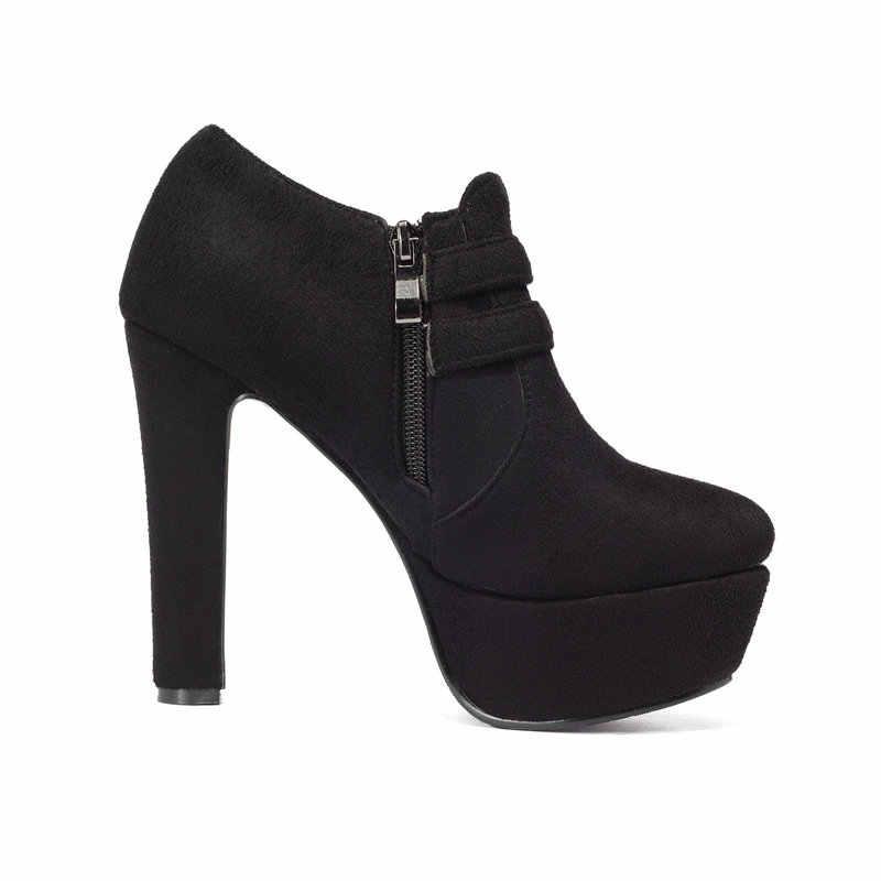 Yeni Kadın Moda Tıknaz Yüksek Topuk yarım çizmeler Yan Fermuar Kış Kadın Ayakkabı Siyah Gri