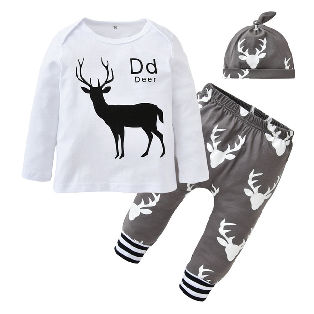 e37defe2b714 Christmas Baby Boy Clothes Baby Boys Clothing Set Infant Deer Tops + ...
