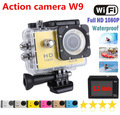 "Newest sport camera 2.0"" Screen 1080P video Camera SJ4000 W9 action camera DV Diving 30m waterproof cam Go pro style sport DV"