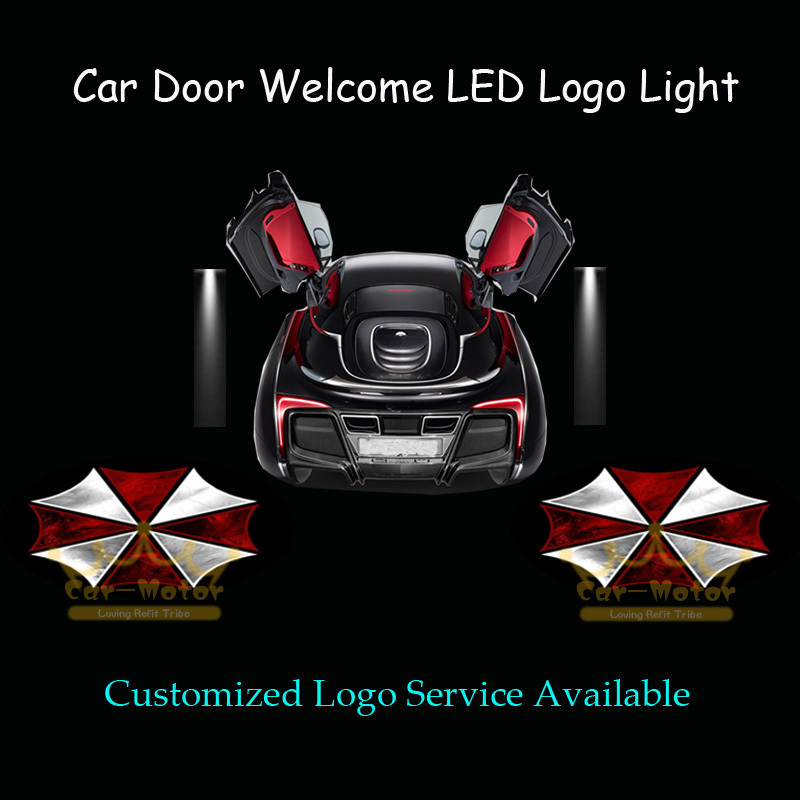 2x Car Door Courtesy Welcome 3D Resident Evil Umbrella Logo Laser Projector Puddle Spotlight Ghost Shadow LED Light (1035)