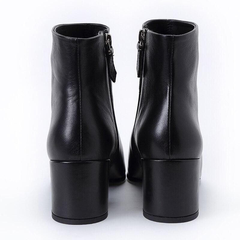 Véritable Pour Cheville Bottes Dames Hauts En Femmes Haute De Talons Pointu Mode Qualité Cuir Chunky À Chaussures Noir Européenne Bout CqFO1wp