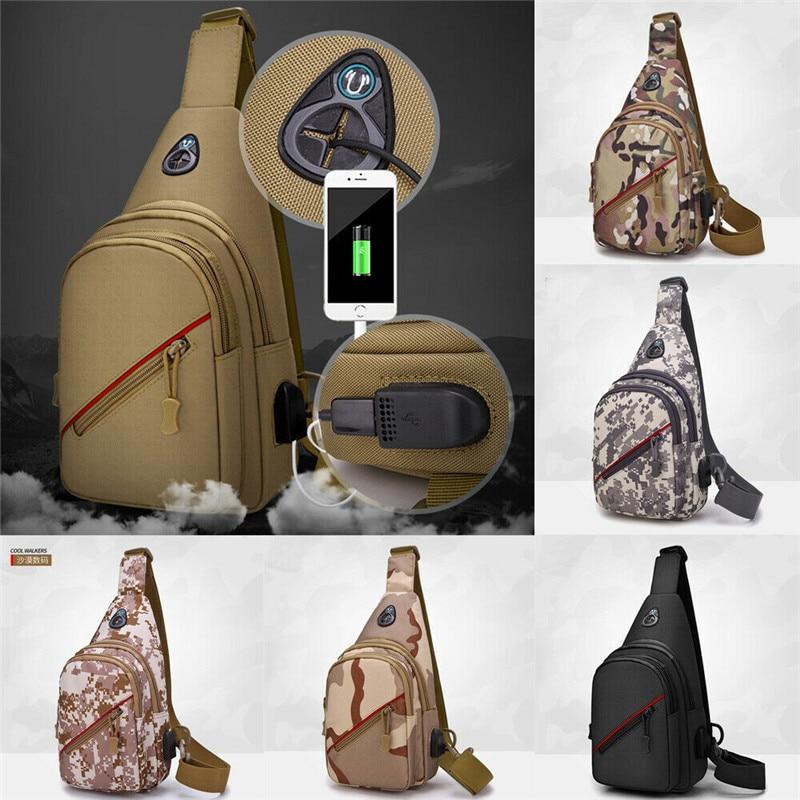NoEnName Anti Theft Men Solid Camouflage Messenger Shoulder Bag Chest Pack USB Charge Outdoor Sports Travel Handbag Waist Packs