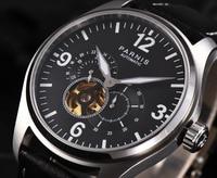 44 мм Parnis часы мужские скелеты светящиеся кожаные 12/24 часов механические мужские часы с скелетом Автоматические наручные часы