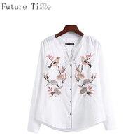Embroidery Women Blouse Shirt Casual 3D Brid Flower Shirt 2017 Summer Cool Long Sleeve V Neck