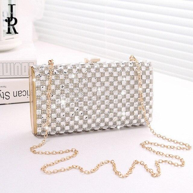 65d50ad05 Crystal Evening Bag chain Clutch Bags Lady Wedding Clutches Purse  Rhinestones Wedding Handbags Silver/Gold
