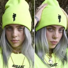 Шапка-бини с вышивкой Billie Eilish для женщин и мужчин, вязаные теплые зимние шапки для мужчин и женщин, одноцветные Повседневные шапки в стиле хип-хоп с манжетами