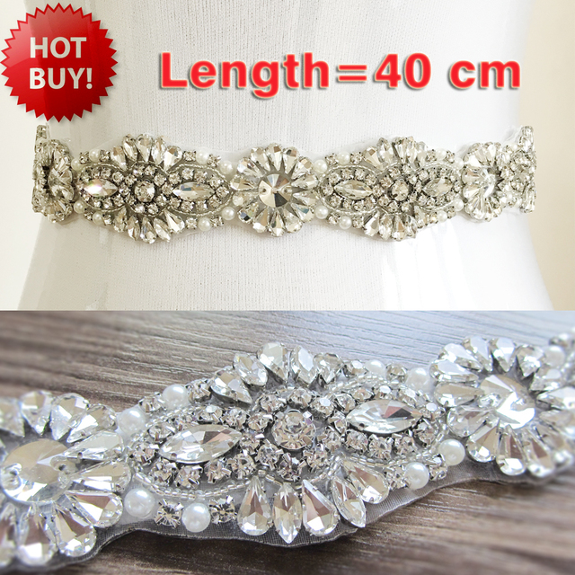 2016 Hot Sale Sparkly Beaded Rhinestones Pearls Wedding Belt Handmade Sashes for Bridal Gowns White/Ivory Cinturon Novia PJ102