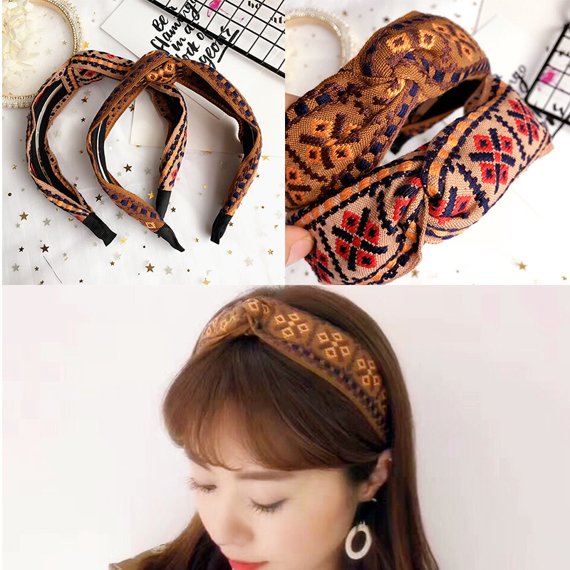 Korea Fabric Tie  Knot Hair Hands Embroidery Hairband  Flower Crown Headbands For Girls Hair Bows Hair Accessories  D