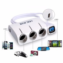 Hsc новый 3 розетки способ авто прикуривателя/делитель мощности адаптер dual 2 usb автомобильное зарядное устройство для iphone/gps автомобильный видеорегистратор
