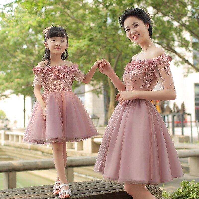Mother Daughter Dresses Children Princess Skirt Women Wedding Shoulderless Flower Dress