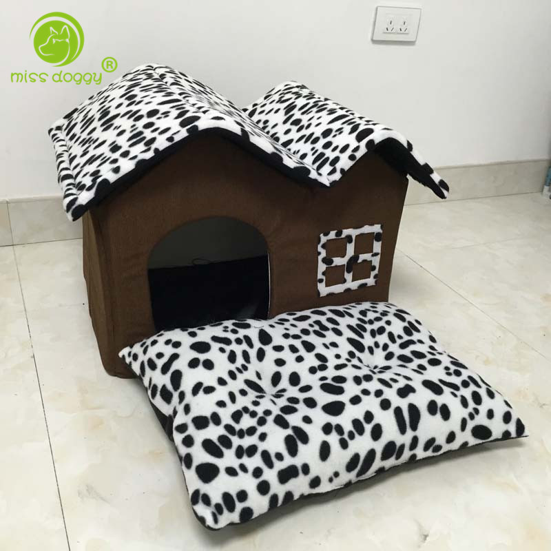 New Arrival Fashion Leopard Printed Pet Dog House Removable Washable Dog Beds for Small Dogs Strong Durable Comfortable Pet Mats