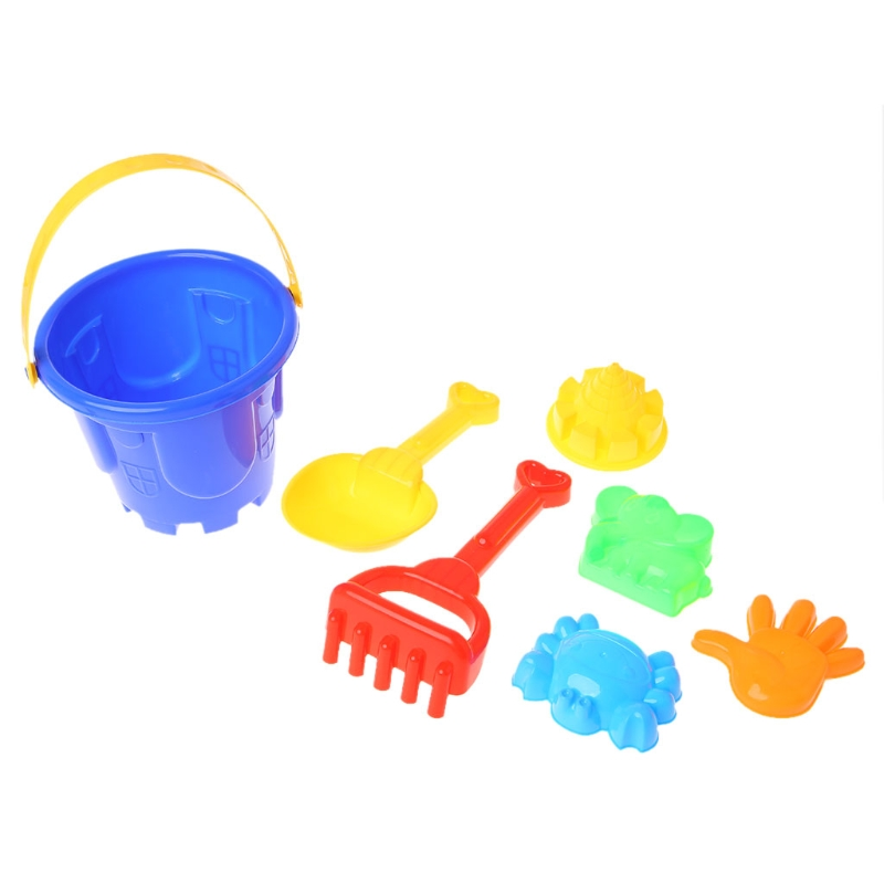 7Pcs Sand Beach Toys Bucket Spade Shovel Rake Dune Water Tools Set For Children