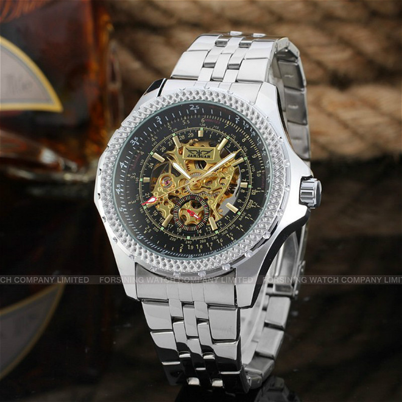 New Luxury Skeleton Winner Automatic for Men Watch Stainless Steel Braceletwith Gift Box mens casual 3d personality skull printing short sleeve t shirt cotton sport black tees