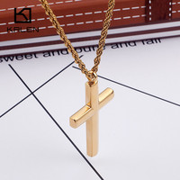 Kalen Classic Gold Cross Necklaces Jewelry Men's Stainless Steel Metal Cross Pendant Necklaces Male Fashion Wholesale Jewelry