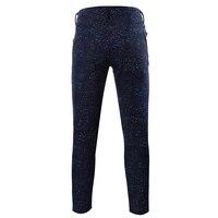 2018 dos homens finos calça casual calças elásticas slim fit Gypsophila estrelas impressos homme baixo espera de fitness corredores skinny calças Afuniladas