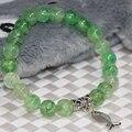 Semi-precious stone strand bracelets women 8mm apple green popcorn natural agate round beads charms jewelry making 7.5inch B2027