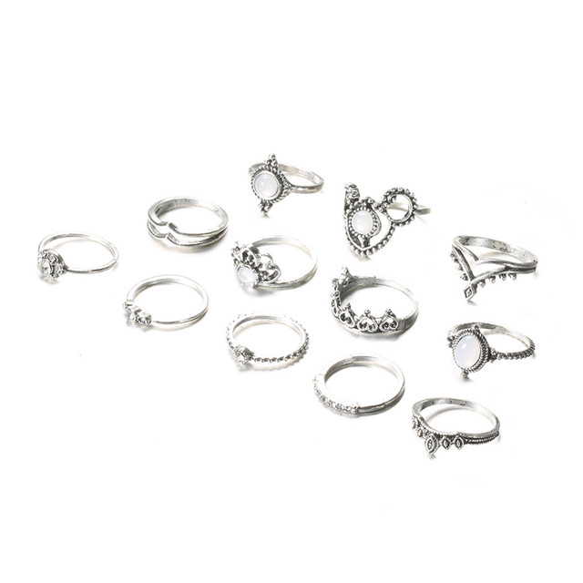 brixini.com - Astarte™ 12PC Retro Geometric Ring Set