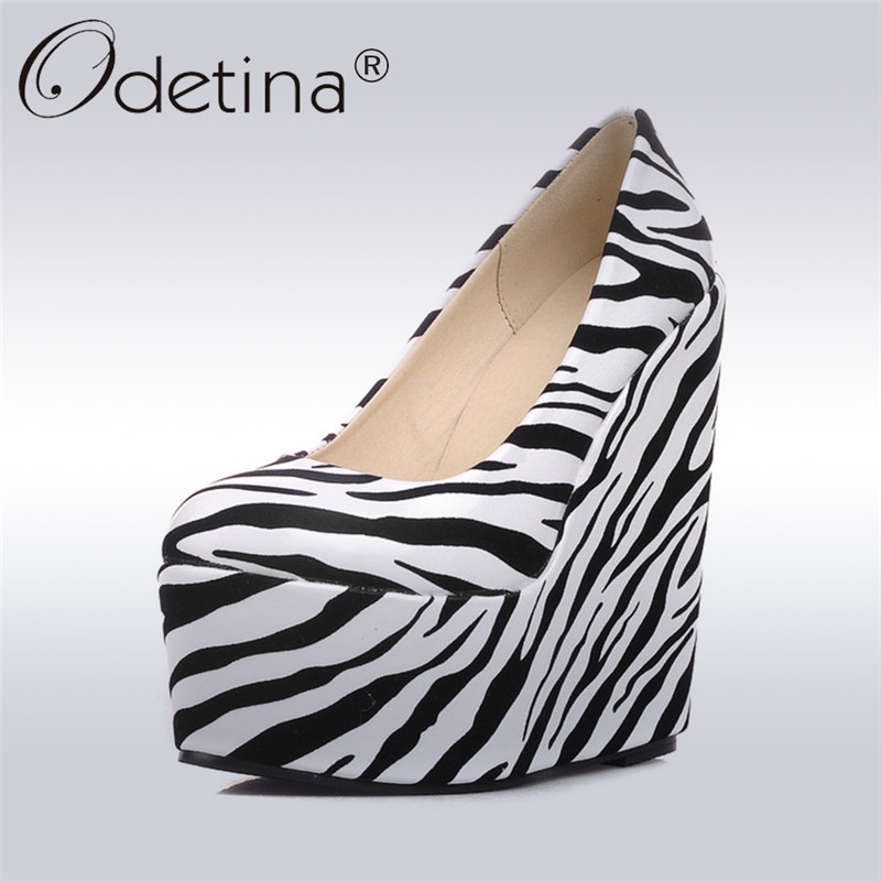 Odetina 2017 Fashion Women Platform Wedges High Heels Round Toe Pumps Slip on Shoes Black White Stripe Heels Ladies Party Shoes nayiduyun women genuine leather wedge high heel pumps platform creepers round toe slip on casual shoes boots wedge sneakers