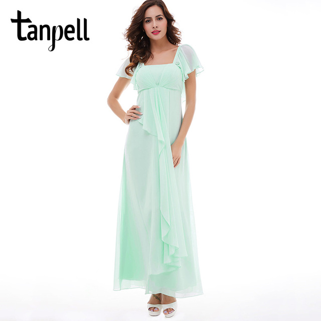 Tanpell square neck bridesmaid dress cheap mint short sleeves a line ...