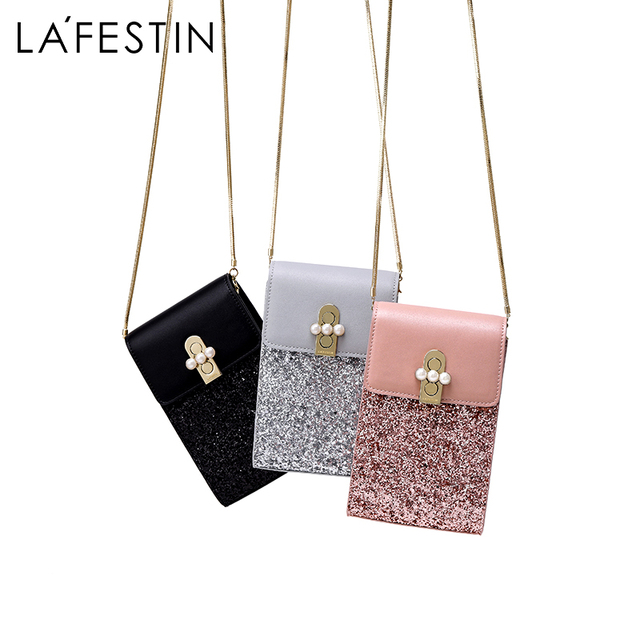 LAFESTIN Brand Women Shoulder Bag Elegant Chain Crossbody Bag High Quality  Mini Mobile Phone Bag Luxury 0a7365c15ad9