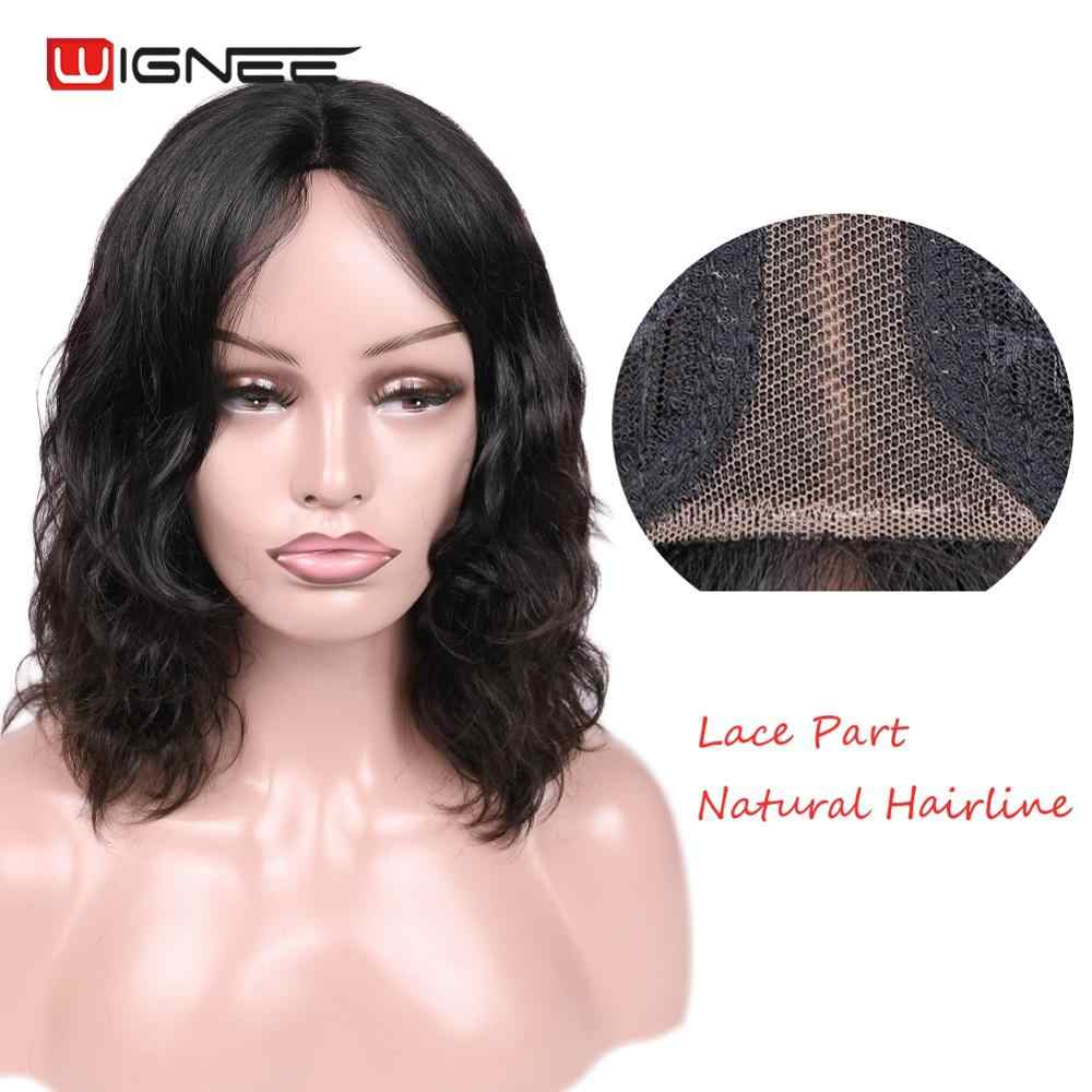 Wignee Natural Wave Lace Part Human Hair Wig For Black/White Women Short Brazilian Hair Glueless Curly Lace Front Remy Human Wig