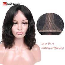 Wignee Natural Wave Lace Part Human Hair Wigs For Black/White Women Glueless Short Curly African Americans