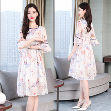 Summer White Flowing Silk Dress for Women High Quality 2019 Ruffles Print Floral Dresses Woman Party Night Elegant Vintage Cloth