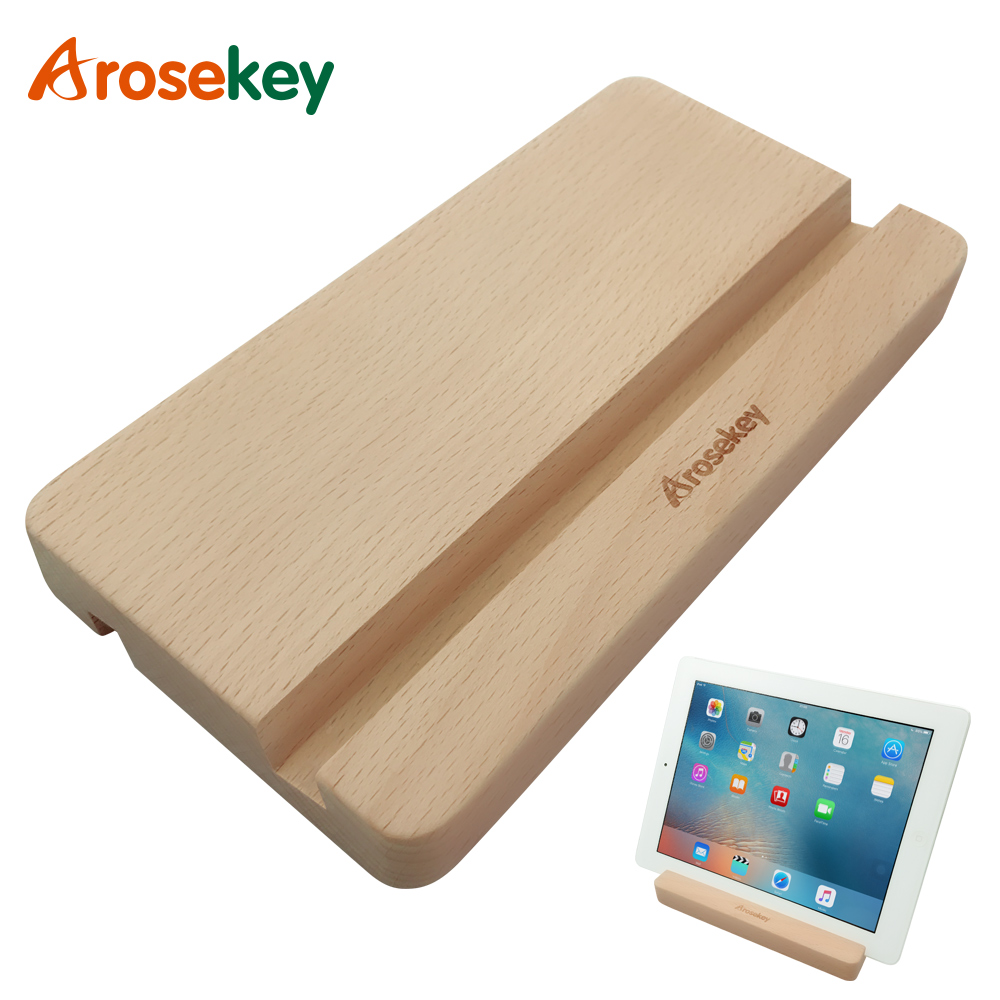 Arosekey Suporte Universal Tablet Stand Titular Para Ipad Air Mini 2 3 4 5 Para IPhone Smart Phone Samsung Xiaomi de madeira