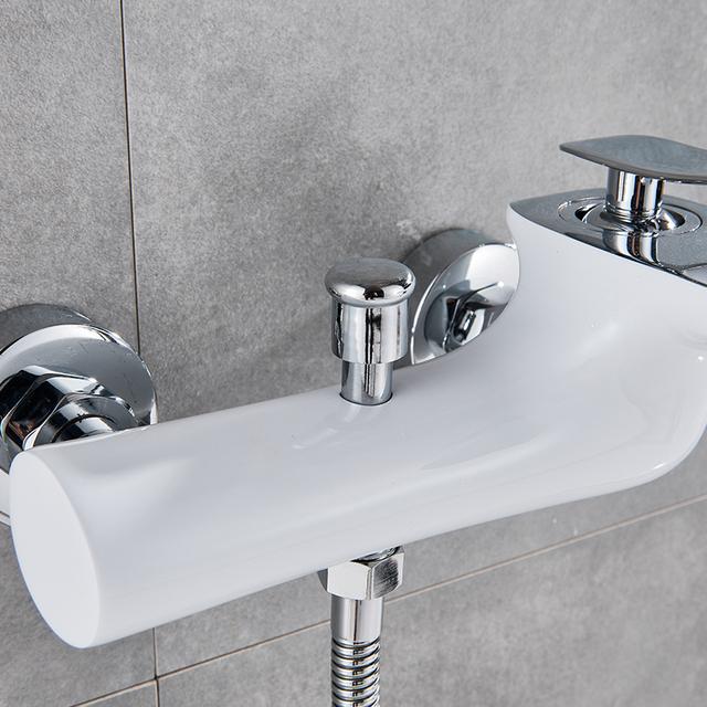 Quyanre White Chrome Waterfall Bathtub Shower Faucets Torneira Bathroom Shower Single Handle Mixer Tap Wall Mounted Shower Mixer