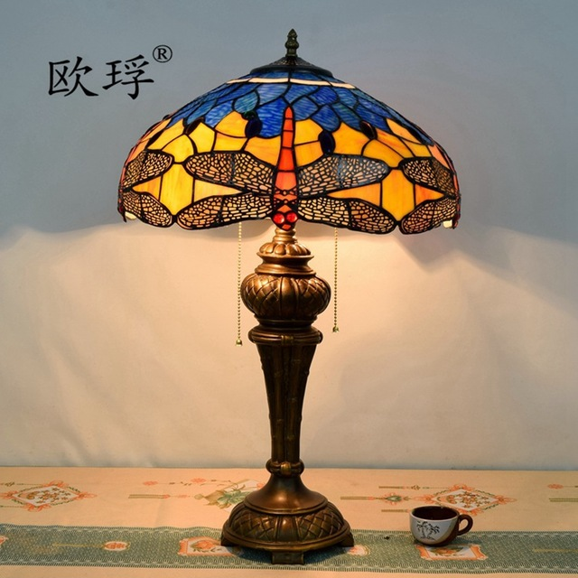 Eusolis 16 Inch Stained Glass Mosaic Crystal Table Lamp Desktop