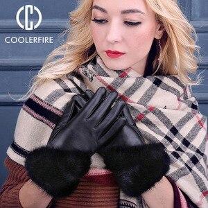 Image 4 - Coolerfirnew Designer Wome Handschoenen Hoge Kwaliteit Echt Leer Schapenvacht Wanten Warme Winter Handschoenen Voor Mode Vrouwelijke ST013
