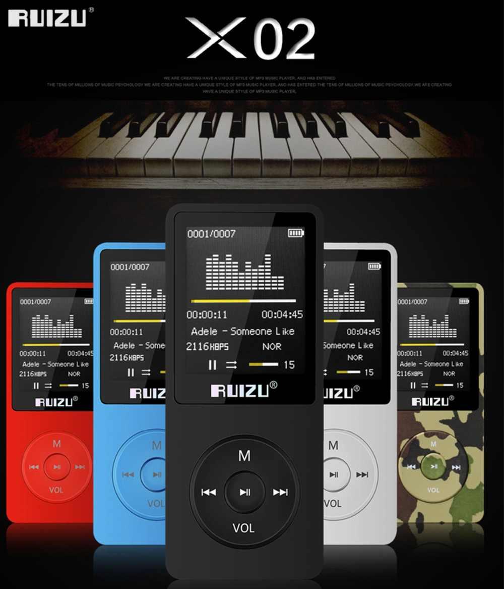 100% Оригинальная английская версия ruziu X02 MP3-плеер 4G/8G/16G портативный MP3 может играть 80 часов с fm-радио электронная книга, часы голоса