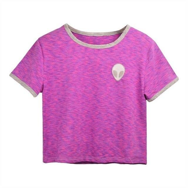 Raisevern New Top Women Embroidery Alien Design Short T Shirt