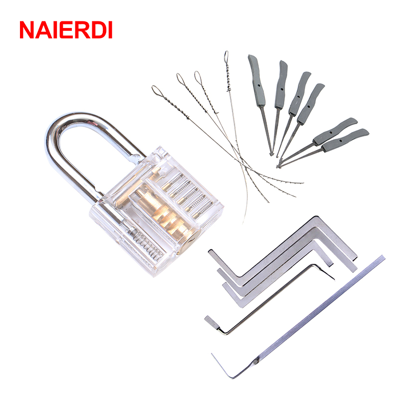 NAIERDI 3 In 1 Set Locksmith Tools Practice Transparent Lock Kit With Broken Key Extractor Wrench Tool Removing Hooks Hardware transparent visible pick cutaway practice padlock lock with broken key removing kit extractor set locksmith tool