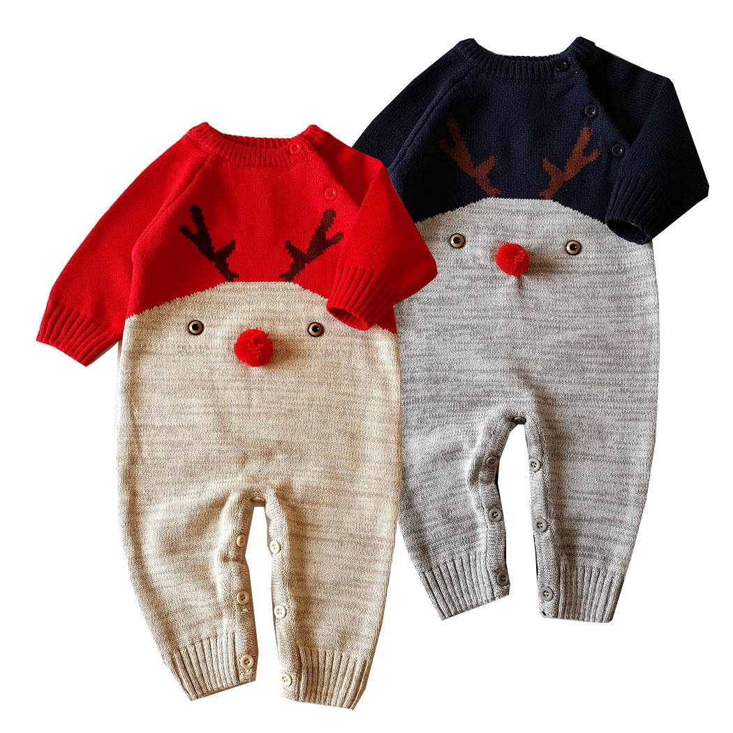 2017 Baby Boys Christmas Elk Romper  Winter Autumn Long Sleeve Baby Knitting Rompers Newborn Infant Toddler Jumpsuits Coveralls newborn baby rompers baby clothing 100% cotton infant jumpsuit ropa bebe long sleeve girl boys rompers costumes baby romper
