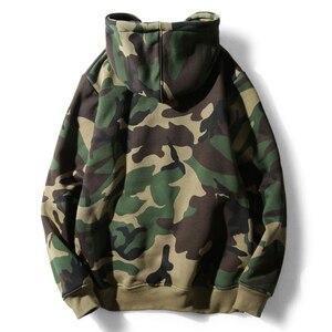 Image 2 - Army Green Camouflage Hoodies 2019 Winter Mens Camo Fleece Pullover Hooded Sweatshirts Hip Hop Swag Cotton Streetwear