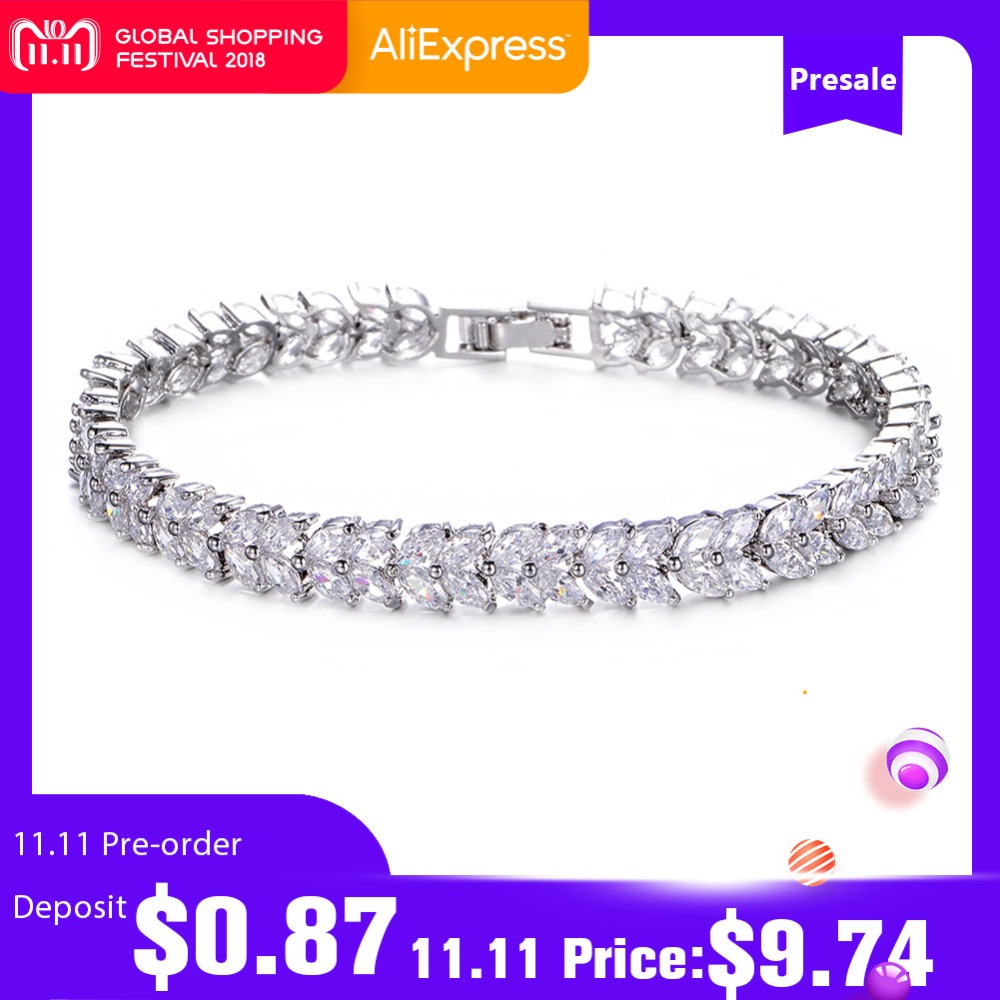 UMODE Wheat Design Tennis Bracelet & Bangle for Women Female Bracelet Bangle with Marquise Cut Cubic Zirconia Stone UB0035 starfield fashionable new bracelet inlaid cubic zirconia stone bracelet leaf design women s accessories