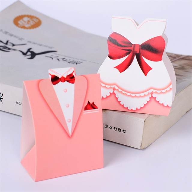 50pcslot Large Pink Dress Bride And Groom Couple Paper Candy Box