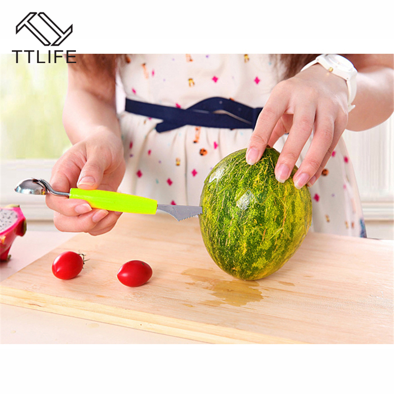 TTLIFE Double Head Dig Ball Scoop Spoon Baller Creative Assorted Cold Dishes Tools Watermelon Melon Fruit Carving Knife Cutter