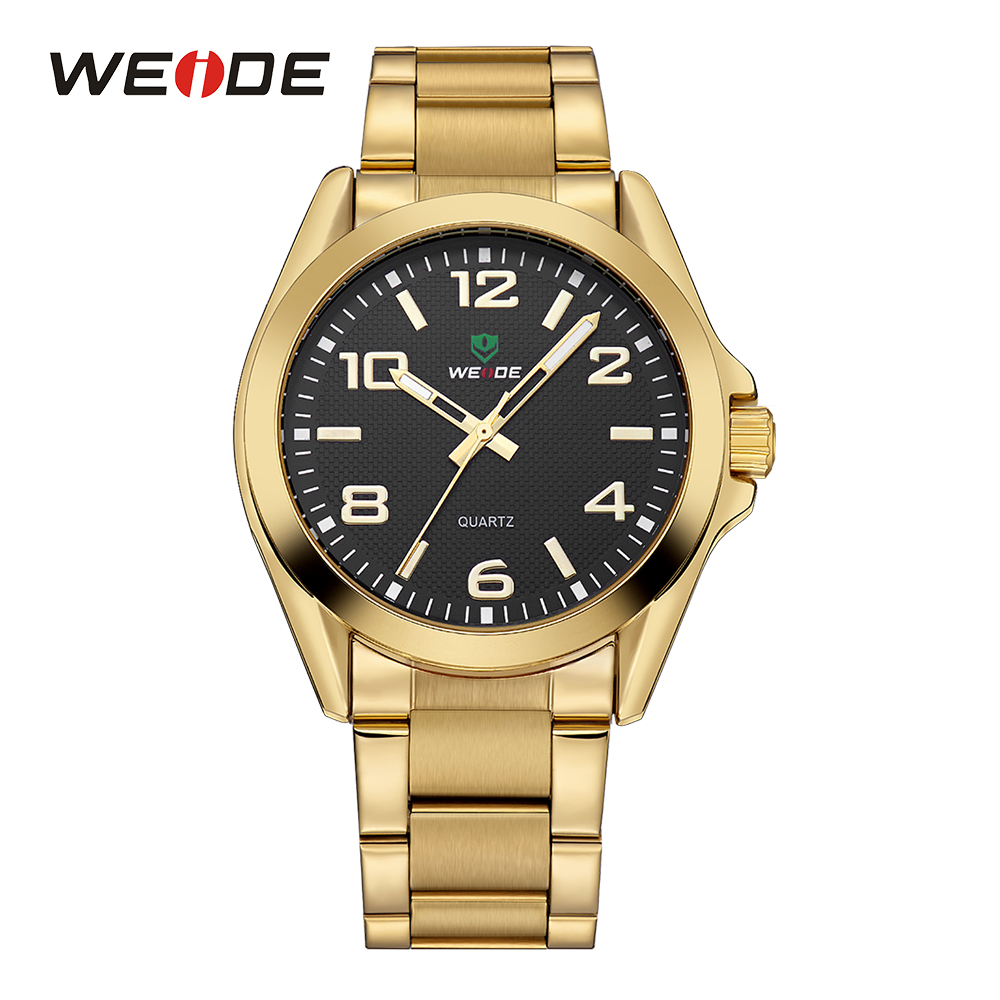 WEIDE Black And Golden Casual Men Sports Japan Quartz Watch Movement Analog Stainless Steel Band Fold Over Clasp Wrist Watches stylish bracelet band women s quartz analog wrist watch coffee golden 1 x 377