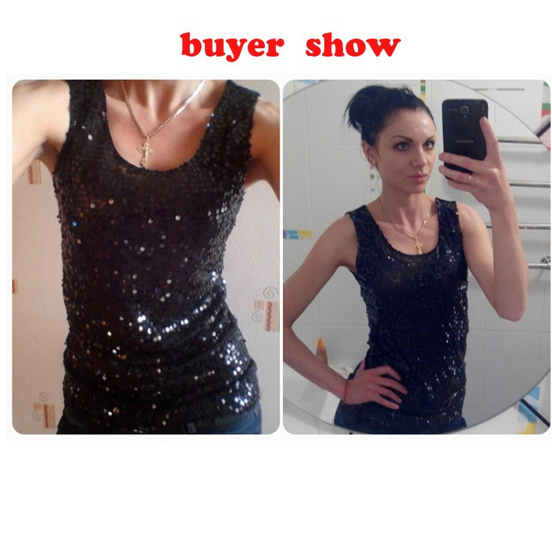 1cf1859198b Black Gold Sequin Tank Top Sexy Women Summer Tanks Tops Plus Size ...