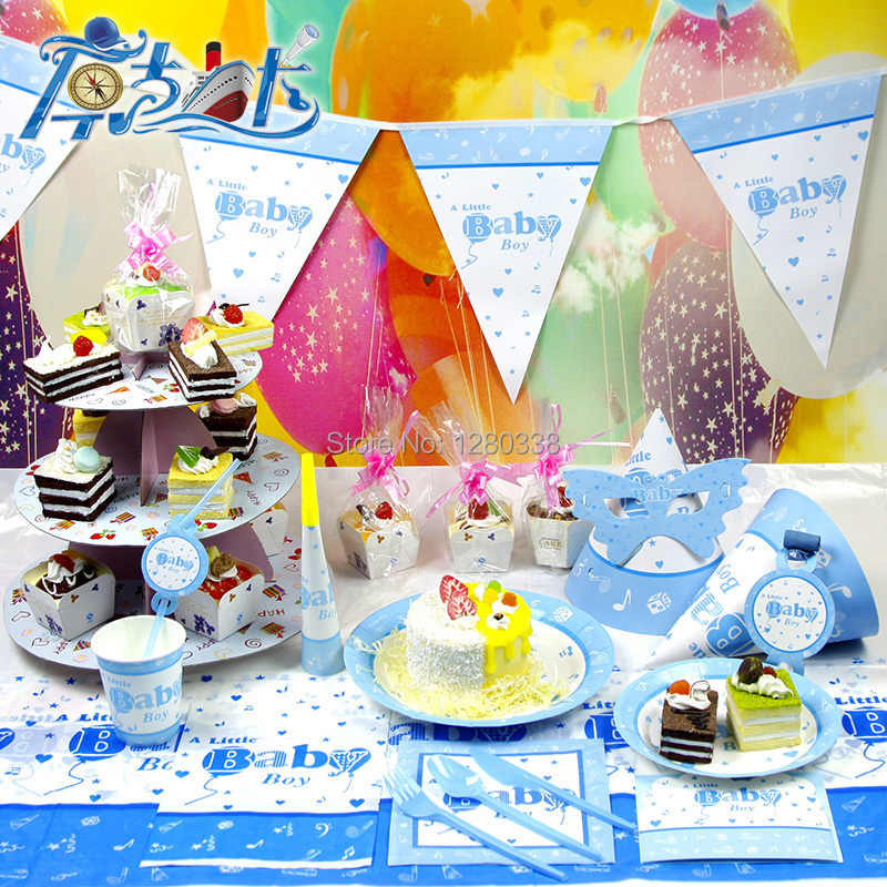 12PCLot Envelop Shaped Blue Baby Boy Theme Birthday Party
