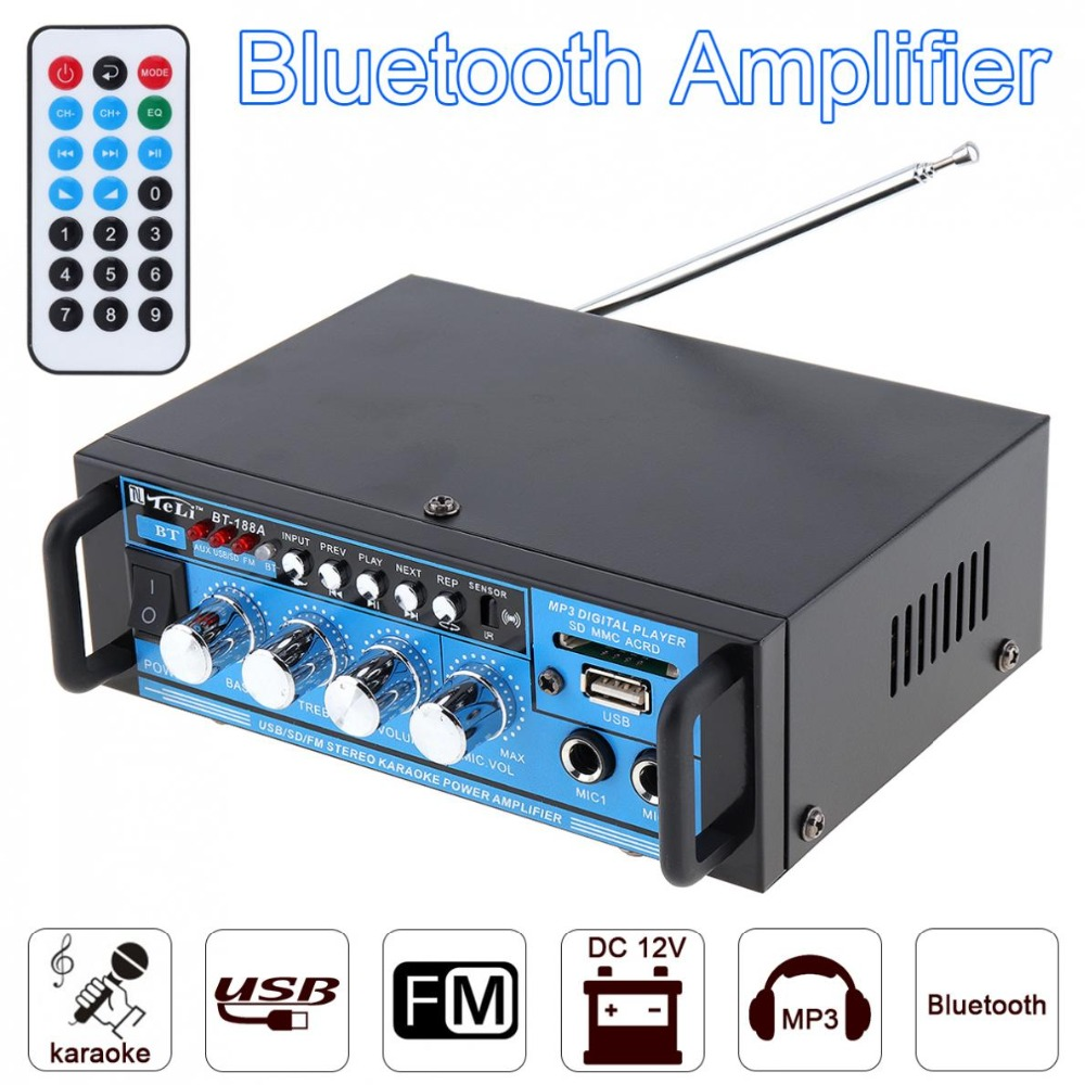4CH Bluetooth HiFI Car MP3 Stereo Audio Power Amplifier DSP Digital FM Radio Player Support SD