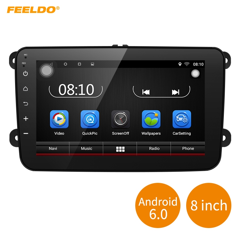 FEELDO 8inch Android 6.0 Quad Core Car Media Player With GPS Navi Radio For VW Golf 5 6/Polo/Passat/Jetta/Touran/Tiguan/Caddy android car radio gps multimedia video audio player for volkswagen vw magotan polo passat golf 7 r gte tiguan touran jetta polo
