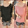 New Fashion 2016 Casual t Shirt Women Clothes Womens Long Sleeve Tops Sexy Off Shoulder Top Loose Tee Shirt Femme A524