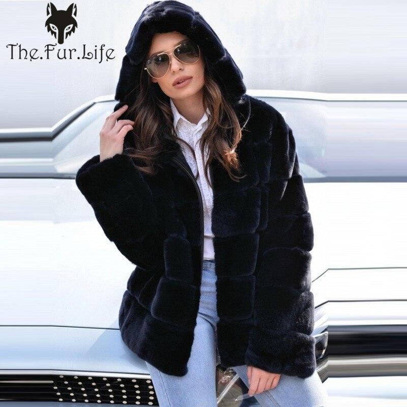 Di modo di Nuovo 2018 Tutta La Pelle Del Coniglio Del Rex Cappotto di Pelliccia di Inverno Caldo di Spessore di Pelliccia Naturale Giubbotti Reale Cappotti di Pelliccia Grande Vendita di Colore blu scuro