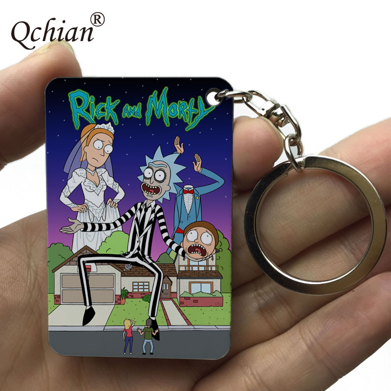 Rick and Morty Keychain for Men Rick and Morty Key Chain Action Figure Collection Model Toy Q vision keyring
