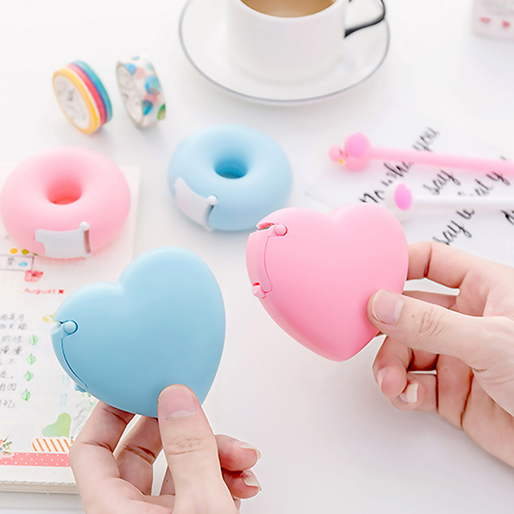 Portable Lovely Doughnut/Heart Shape Tape Dispensers Cartoon Colorful Roll Tape Organizer